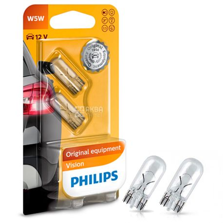 Philips, 2 шт., 5 Вт, Лампа накаливания, Vision, 2700K, W5W, 12V