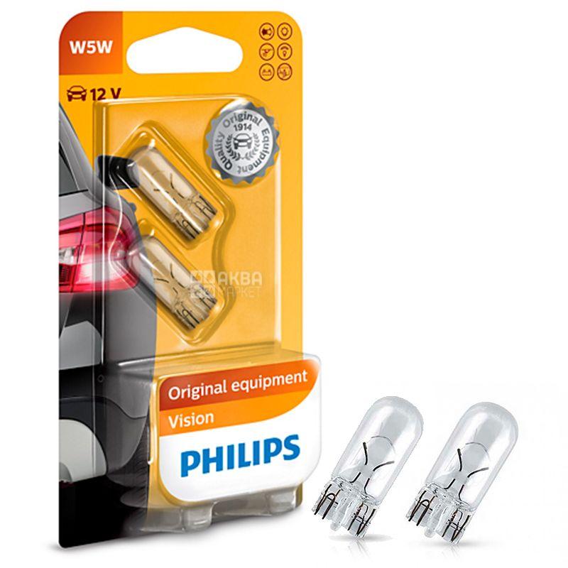 Philips, 2 шт., 5 Вт, Лампа розжарювання, Vision, 2700K, W5W, 12V