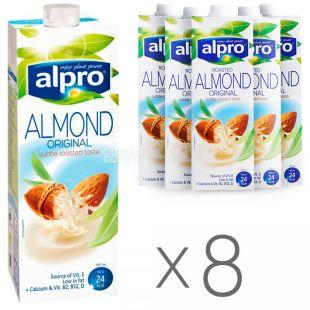 Alpro, Almond Original, Упаковка 8 шт. по 1 л, Алпро, Мигдалеве молоко, оригінальне, вітамінізоване