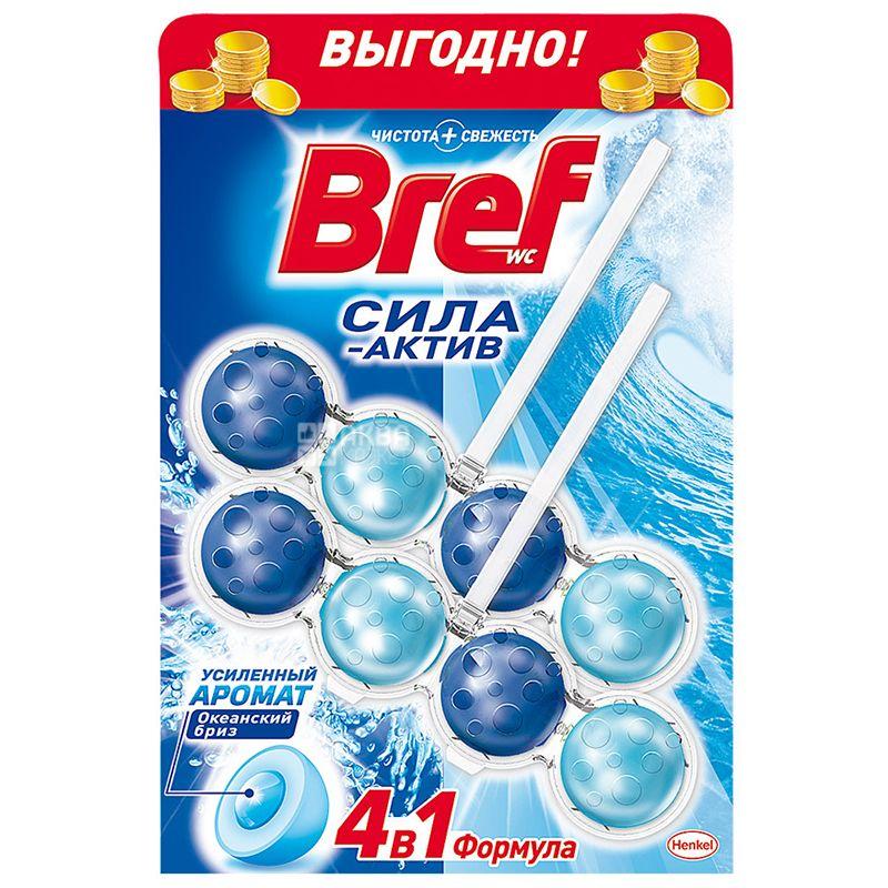 Bref, Блоки для унітазу, Сила Актив, 4 в 1, Океанський бриз, 2 шт. по 50 г