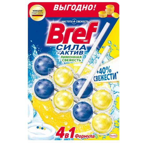 Bref, Блоки для унитаза, Сила Актив, 4 в 1, Лимон, 100 г