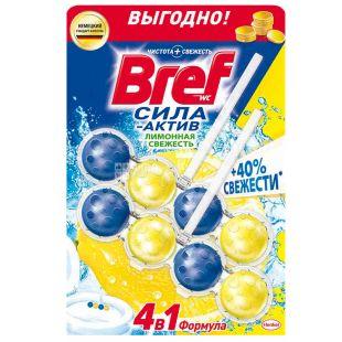 Bref, 100 г, Блоки для унітазу, Сила Актив, 4 в 1, Лимон