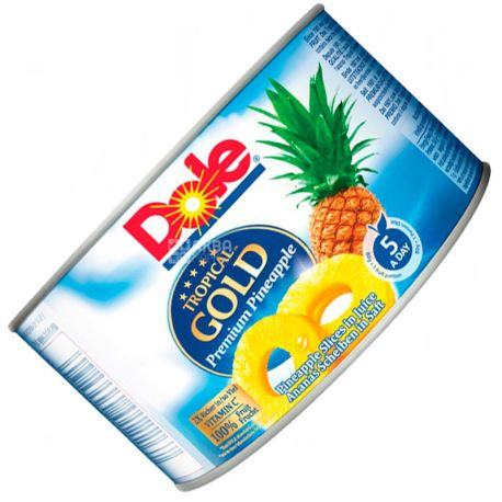 Dole Tropical Gold, 227 г, Cлайсы ананаса, В собственном соку, ж/б