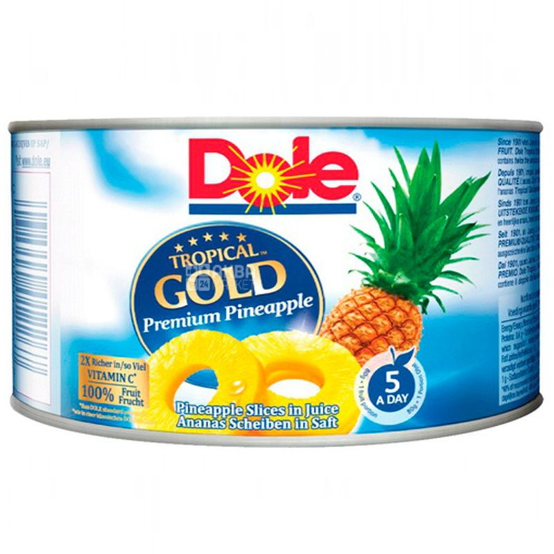 DoleTropical Gold, 227 г, Cлайси ананаса, У власному соку, ж/б
