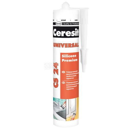 Ceresit, 280 мл, Герметик силиконовый CS24, Универсальный, Белый