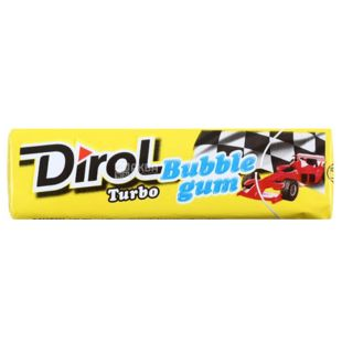 Dirol Bubble Gum Turbo, 14 g, Chewing gum, Mint and fruit