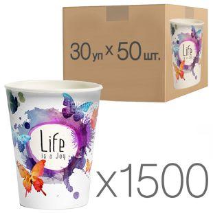 Стакан бумажный с рисунком Бабочки 250 мл, 50 шт., 30 упаковок, D80