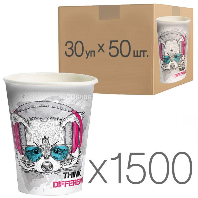 Стакан паперовий з малюнком Не обмежуй себе 250 мл, 50 шт., 30 упаковок, D80