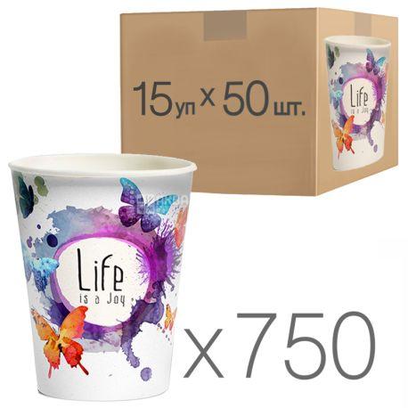 Стакан бумажный с рисунком Бабочки 400 мл, 50 шт., 15 упаковок, D92