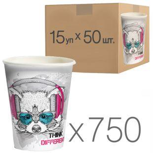 Стакан бумажный с рисунком Не ограничивай себя 400 мл, 50 шт, 15 упаковок, D92
