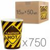 Стакан бумажный с рисунком Осторожно горячий 400 мл, 50 шт, 15 упаковок, D92