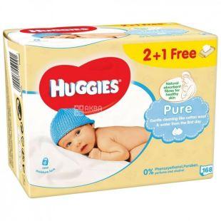Huggies, 2 + 1 packs of 56 each, Wipes, Pure, m / s