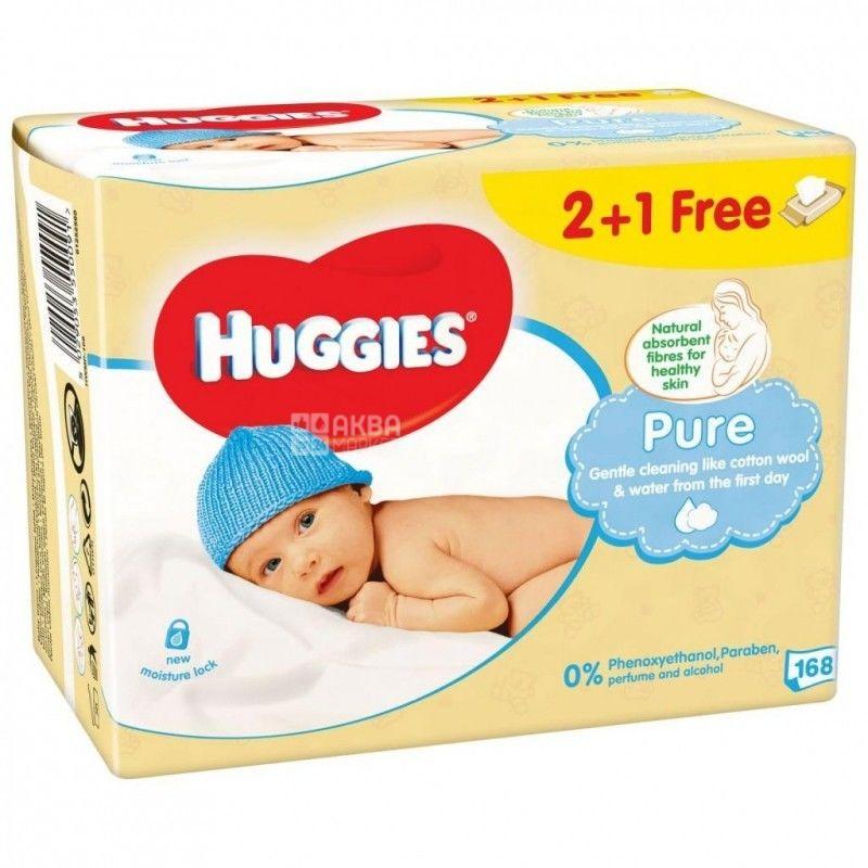 Huggies, 2+1 упаковки по 56 шт., Вологі серветки, Pure, м/у