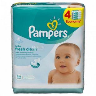 Pampers, 4 упаковки по 64 шт., Влажные салфетки, Fresh Clean, м/у