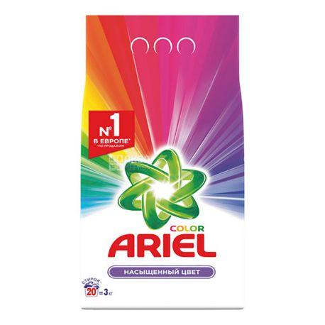 Ariel, 3 кг, Стиральный порошок для цветного белья,  Автомат,  Насыщенный цвет, м/у