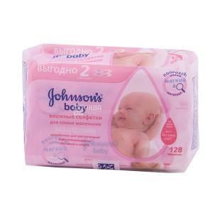Johnson's Baby, 2 упаковки по 56 шт., Влажные салфетки, Детские, Без отдушки