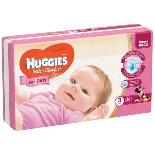 Huggies Ultra Comfort 5, 56 шт., 12-22 кг, Підгузники, Для дівчаток