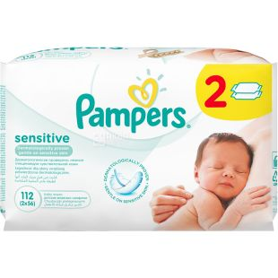 Pampers, 2 упаковки по 56 шт., Салфетки влажные, Sensitive, м/у