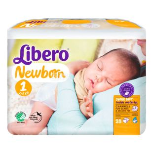 Libero Newborn 1, 28 шт., 2-5 кг, Подгузники, Для новорождённых, м/у