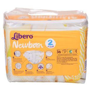 Libero Newborn 2, 36 шт., 3-6 кг, Подгузники, Для новорождённых, м/у