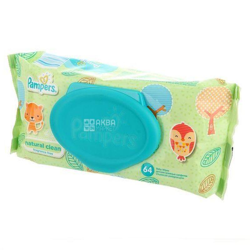 Pampers, 64 шт., Детские влажные салфетки, Clean & Play
