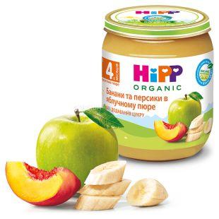HiPP, 125 г, Фруктове пюре, Яблука з персиками і бананами, З 4-х місяців
