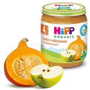 HiPP, 125 г, Пюре, Гарбуз з яблуками, З 4-х місяців
