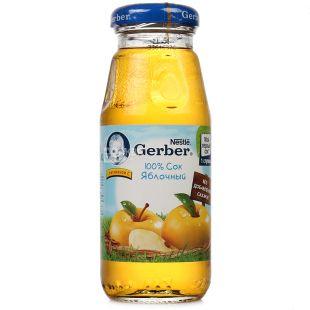 Gerber, Яблочный 100%, 175 мл, Гербер, Сок натуральный, с 3 месяцев, без добавления сахара, стекло
