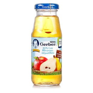 Gerber, 175 мл, Сік, Яблучно-грушевий