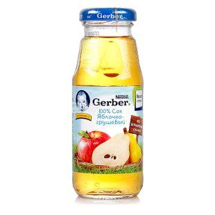 Gerber, Яблочно-грушевый, 175 мл, Гербер, Сок натуральный, с 5 месяцев, без добавления сахара, стекло