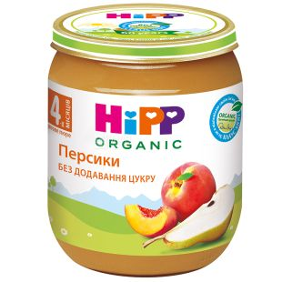 HiPP, 125 г, Фруктове пюре, Персики та груша, З 4-х місяців