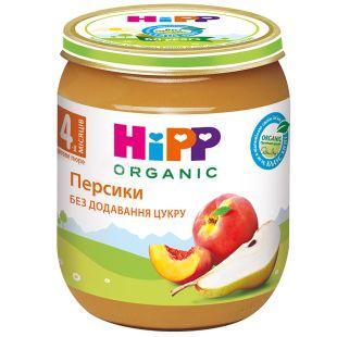 HiPP, 125 г, Фруктовое пюре, Персики и груша, С 4-х месяцев