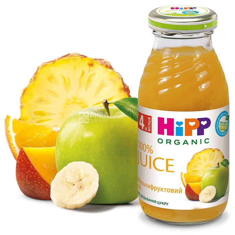 HiPP, Multifruit, 200 мл, Хіпп, Сік, мультифруктовий, з 4 місяців, без додавання цукру, скло