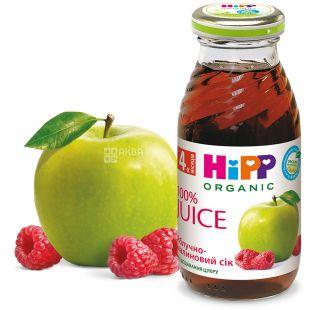 HiPP, Apple-Raspberry, 200 мл, Хипп, Сок Яблочно-малиновый, с 4 месяцев, без добавления сахара, стекло
