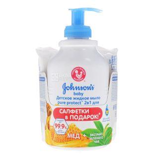 Johnson's baby, 300 мл, Жидкое мыло, Pure Protect, С экстрактом зеленого чая и меда, ПЭТ