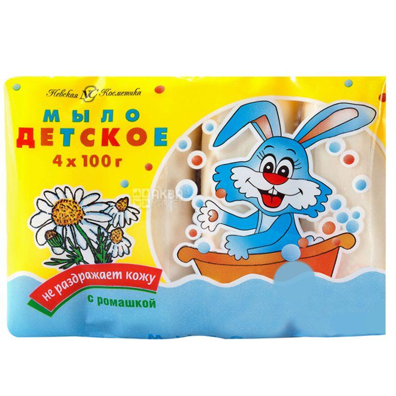 Невская Косметика, 4шт. по 100 г, Мыло детское, С ромашкой, м/у