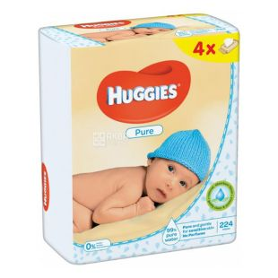 Huggies, 56х4 шт., Вологi серветки, Pure Quad