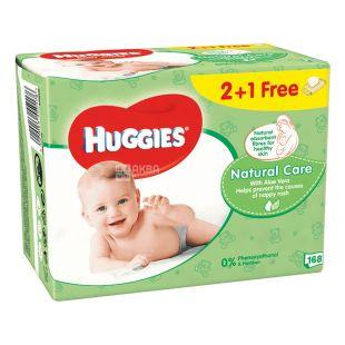 Huggies, 56х3 шт., Вологi серветки, Natural Care
