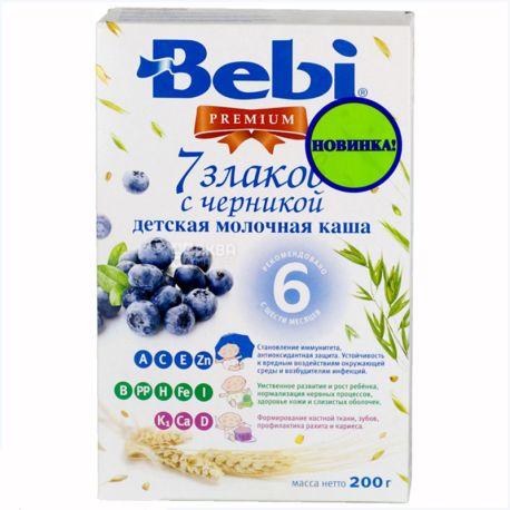 Bebi, 200 г, Premium, Молочная каша 7 злаков, С черникой, С 6 месяцев