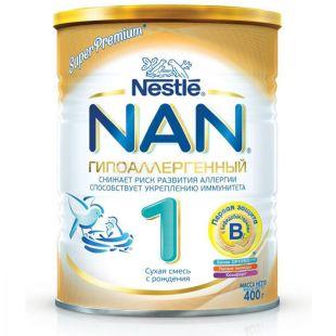 Nestle, 400 г, NAN, Смесь с рождения, Optipro Гипоаллергенный 1