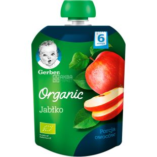 Gerber, 90 g, Fruit puree, Organic apple, From 6 months