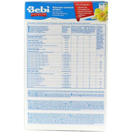 Bebi Premium, 250 г, Каша молочная, Фруктово-злаковое ассорти, С 6-ти месяцев