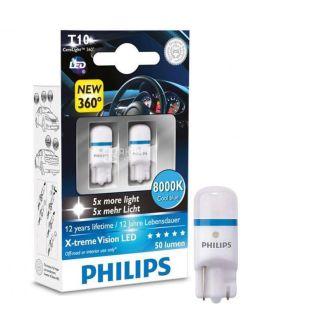 Philips, 2 шт., Лампа світлодіодна T10/6000K/12V, блістер