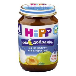 HiPP, 190 г, Молочна каша, Манна, З фруктами, На добраніч, з 4 місяців