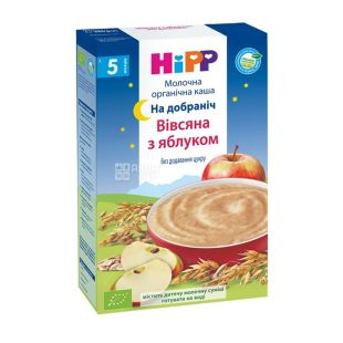 HiPP, 250 г, Органічна молочна каша, Вівсяна з яблуком, На добраніч