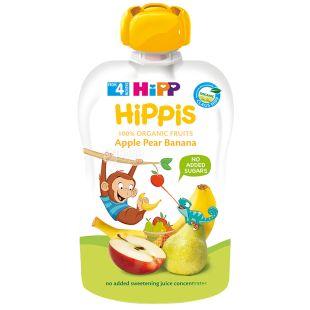 HiPP, 100г, Фруктовое пюре, Яблоко-Груша-Банан