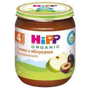 HiPP, 125 г, Фруктове пюре, Сливи з яблуками