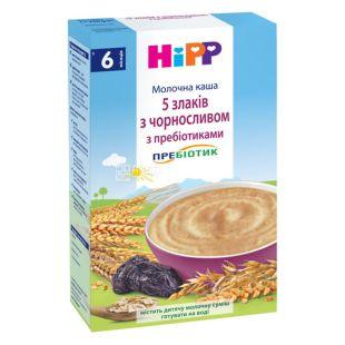 HiPP, 250 г, Молочна каша, 5 злаків з чорносливом з пребіотиками