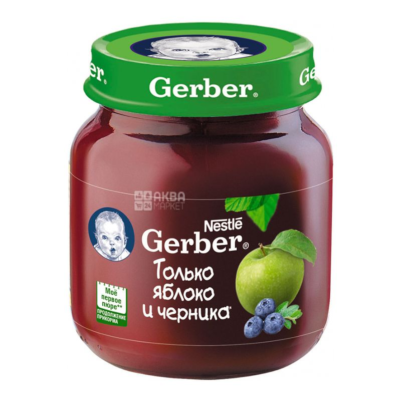 Gerber, 130 г,  Фруктовое пюре, Яблоко и черника, С 6 месяцев