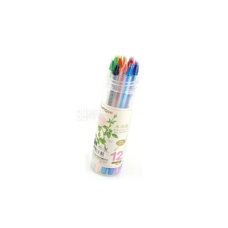 AIHAO, Набір водорозчинних олівців, кольорових, 12 шт., тубус